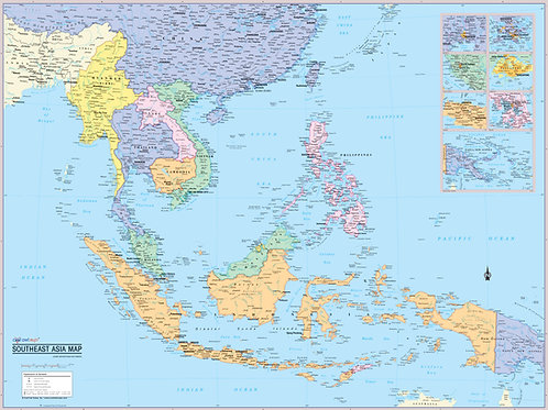 Southeast Asia Region Wall Map Poster