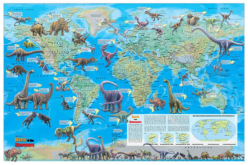 World of the Dinosaurs Wall Map Poster