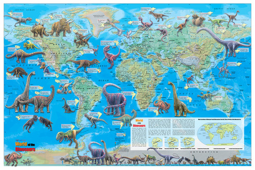 World of the dinosaurs wall map poster 36x24 gumiabroncs Image collections