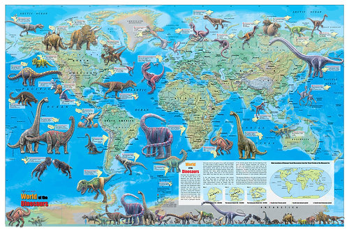 Wall Maps Posters Cool Owl Maps World Of The Dinosaurs Wall - Wall maps of the world