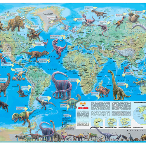 Map store world of the dinosaurs wall map poster 36x24 gumiabroncs Images