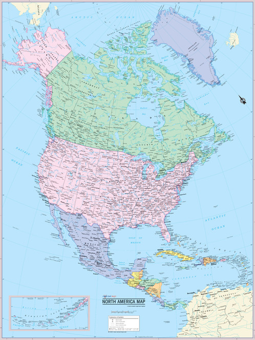 NORTH AMERICA Continent Map Wall Poster  Wall Maps Posters  Cool