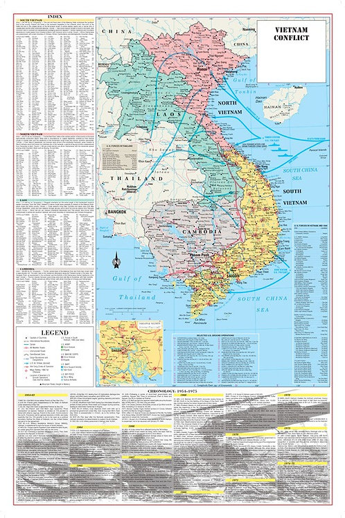 Vietnam War Conflict Wall Map Poster Military