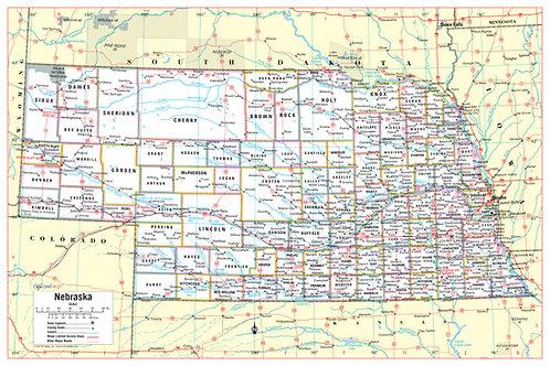 Nebraska state wall map