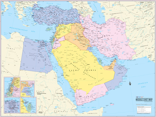 Middle East Map Wall Poster Wall Maps Posters Cool Owl Maps