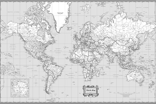 World Wall Map Classic Black & White Poster