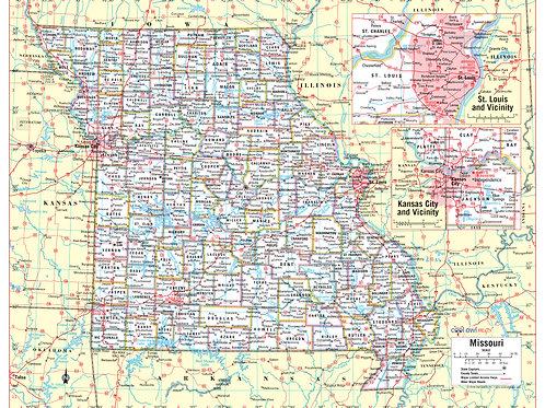 Missouri state wall map