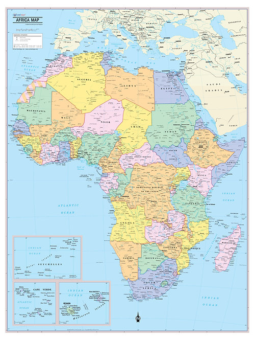 Africa Continent Map Wall Poster