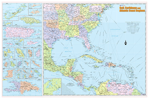 Gulf, Caribbean & Atlantic Coast Regions Wall Map