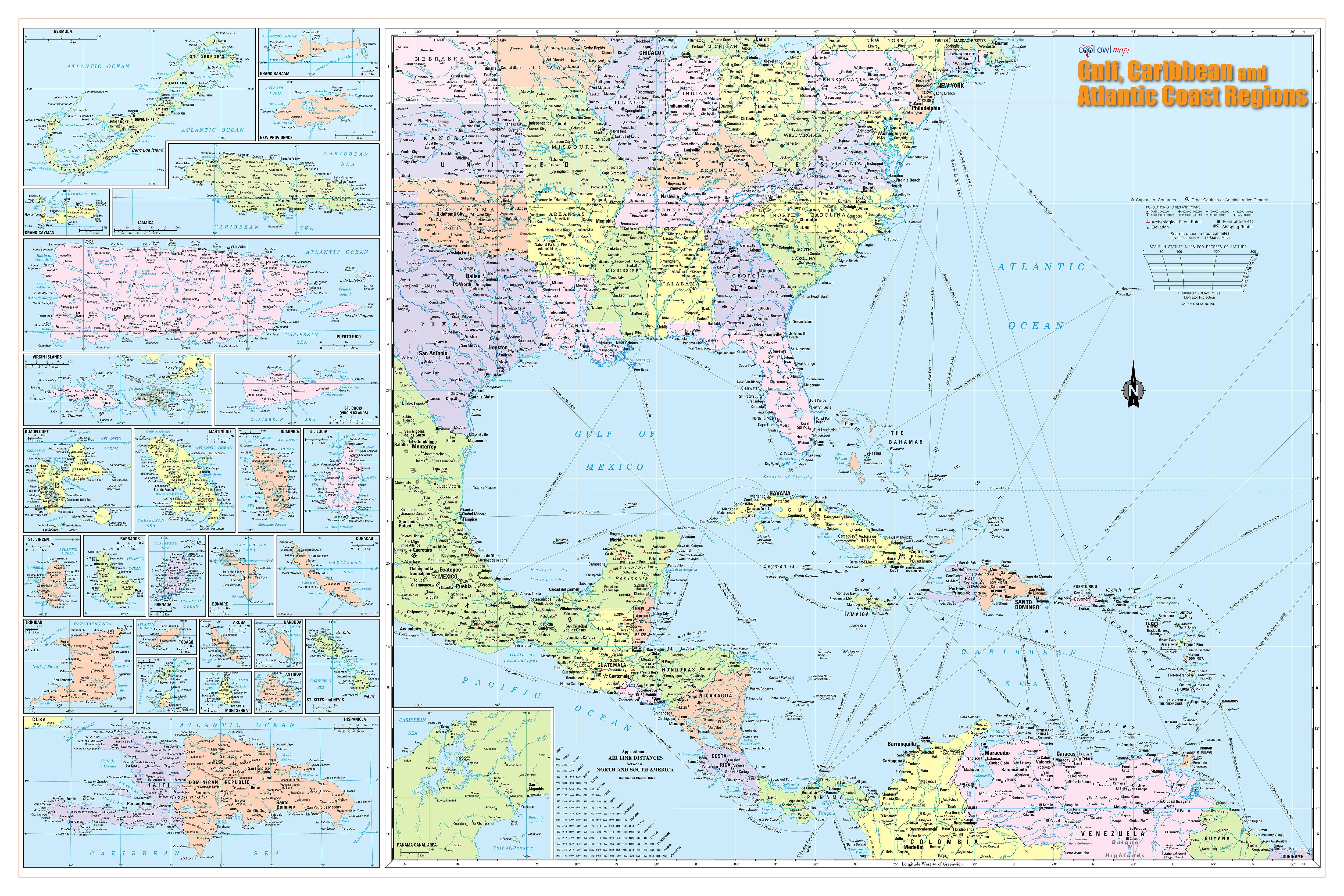 Wall Maps Posters Cool Owl Maps Gulf Caribbean Atlantic - Carribean island map