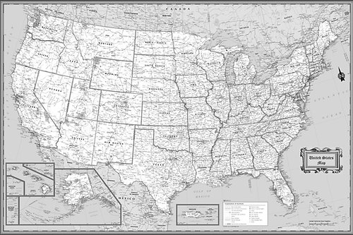 Wall Maps Posters Cool Owl Maps Usa Wall Map Classic Black 36 X 24 Us