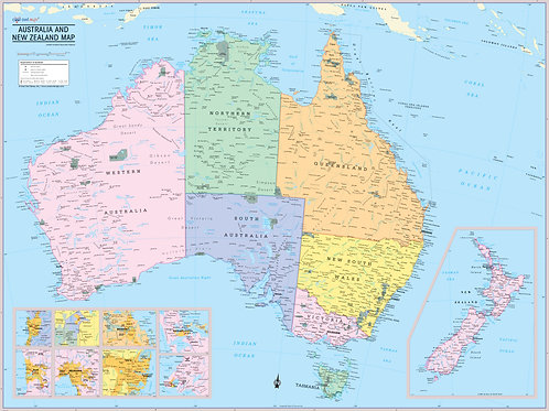 Australia and New Zeland Map Wall Poster
