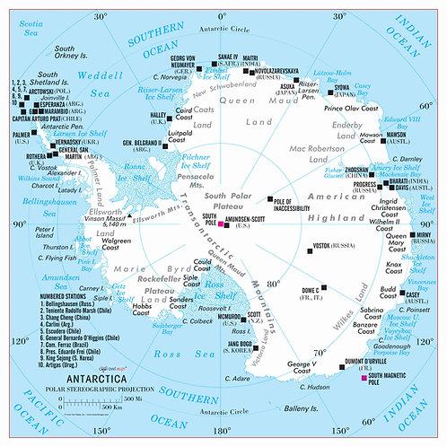 Antarctica continent map