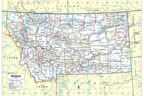 Montana states wall map
