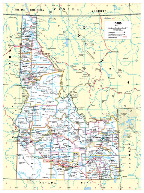 graphic regarding Printable Map of Idaho known as IDAHO Place Wall Map - 24\