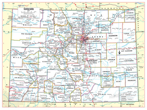"COLORADO State Wall Map - 32""Wx24""H"