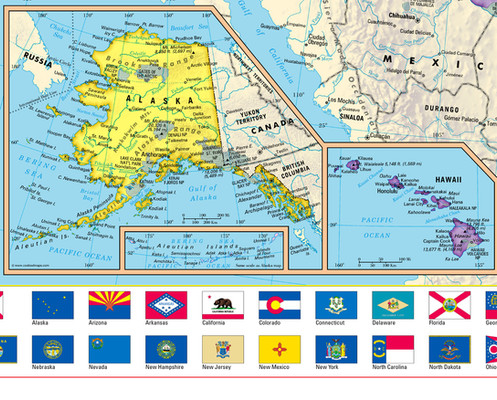United States Wall Map With State Flags - Us-map-with-state-flags