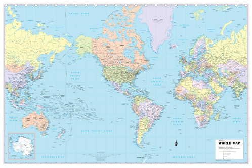 World Wall Map USA Centered X Wall Maps Posters - Usa world map and cities