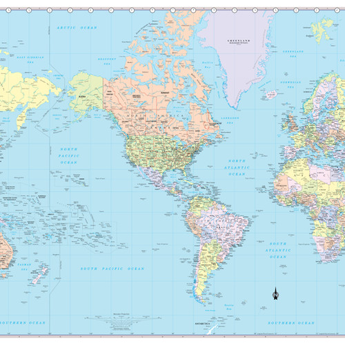 World maps from coolowlmaps world wall map usa centered 36x24 2017 gumiabroncs Images