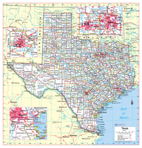 The Map Of Texas State.Texas State Wall Map 24 X25