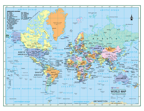 World wall map political poster large print wall maps posters world wall map political poster large print gumiabroncs Choice Image