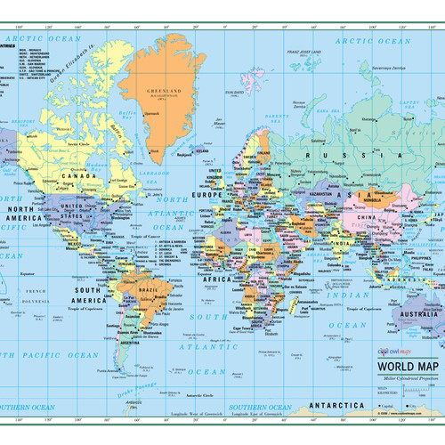 World maps from coolowlmaps world wall map political poster large print publicscrutiny Choice Image