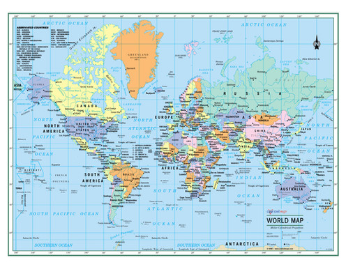 WORLD Wall Map Political Poster - Large Print