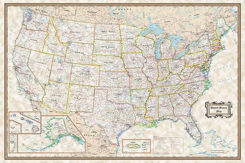 USA executive wall map poster