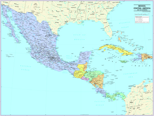 Mexico, Central America and Caribbean Map Wall Poster