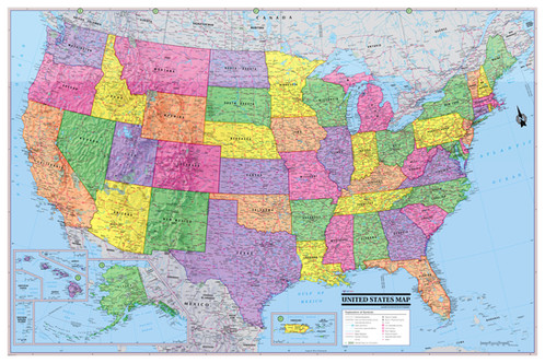 United States Map Usa Poster 36x24 - Us-map-poster