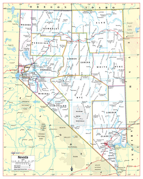 NEVADA State Wall Map - 24\
