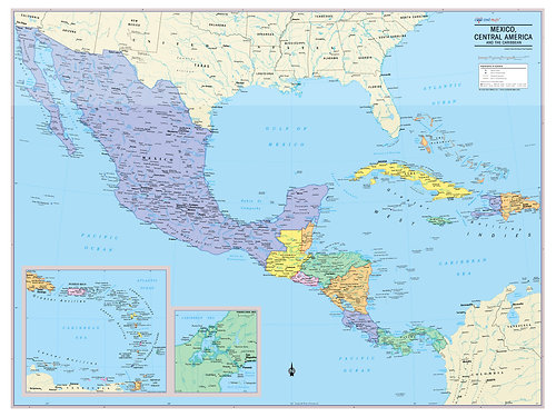 Wall Maps Posters Cool Owl Maps Mexico Central America And - Carribean map