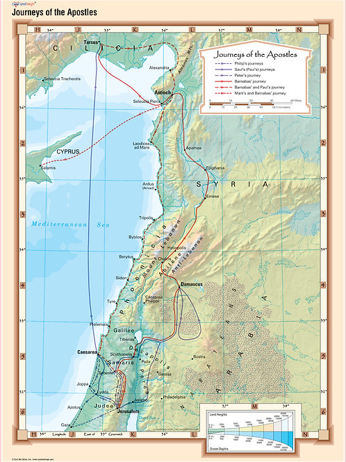 Journeys of the Apostles Bible Wall Map