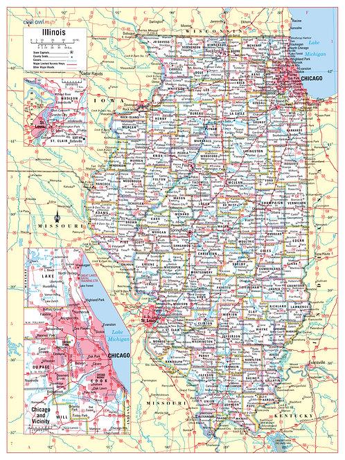 Illinois state wall map
