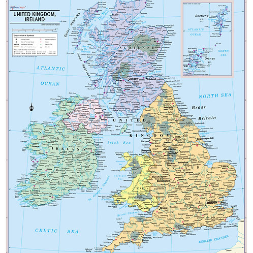 United Kingdom and Ireland Wall Map Poster