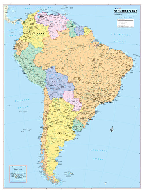SOUTH AMERICA Continent Map Wall Poster