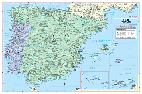 Spain and Portugal wall map