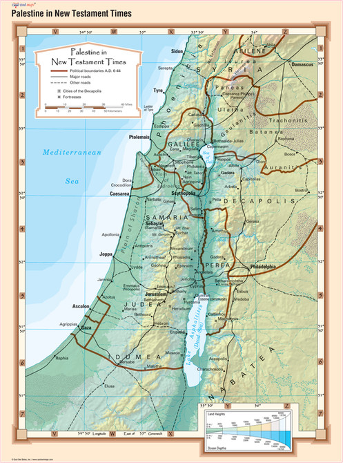 Palestine in New Testament Times Bible Wall Map on