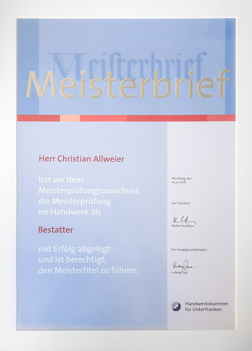 Meisterbrief Christian Allweier