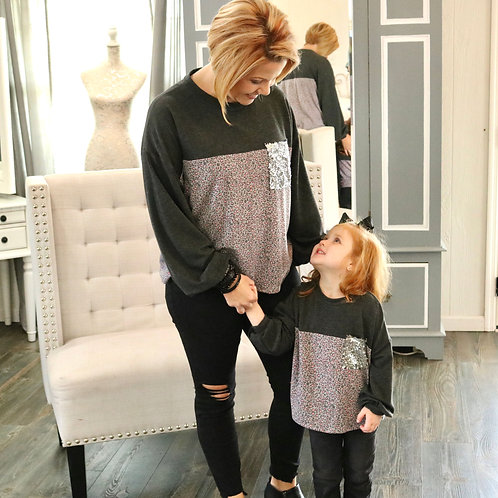 Cheetah Top With Sequin Pocket - Mommy Top