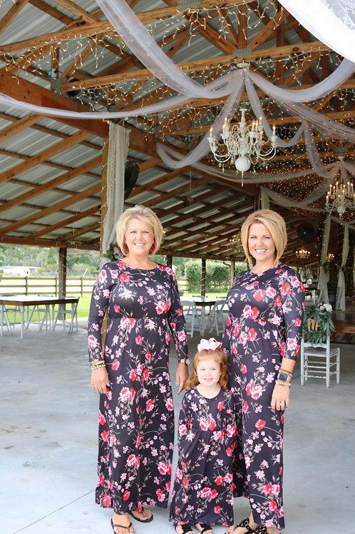 Autumn Long Flower Dress - Mommy Dress