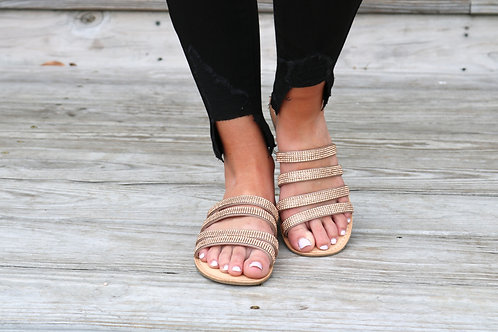 Rose Gold Glitzy Strapped Sandal
