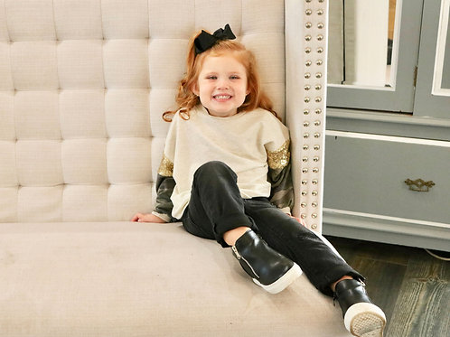 Kids Camo and Sequins Sleeves Top