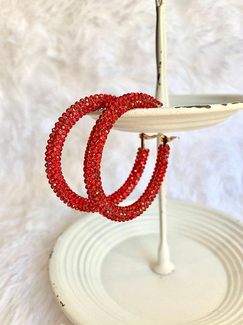 Rhinestone Coated Hoop Earrings