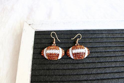 Rhinestone Football Earrings