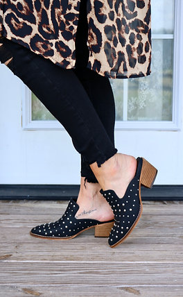 Studded Pointy Toe Heeled Slide on Bootie