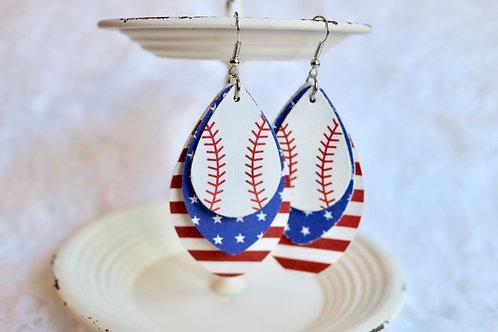 Layered Baseball Earrings