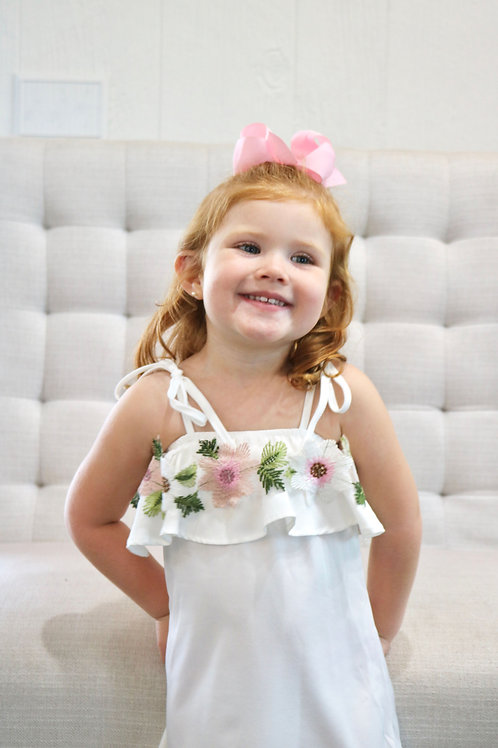 Kids Sweet Flower White Dress