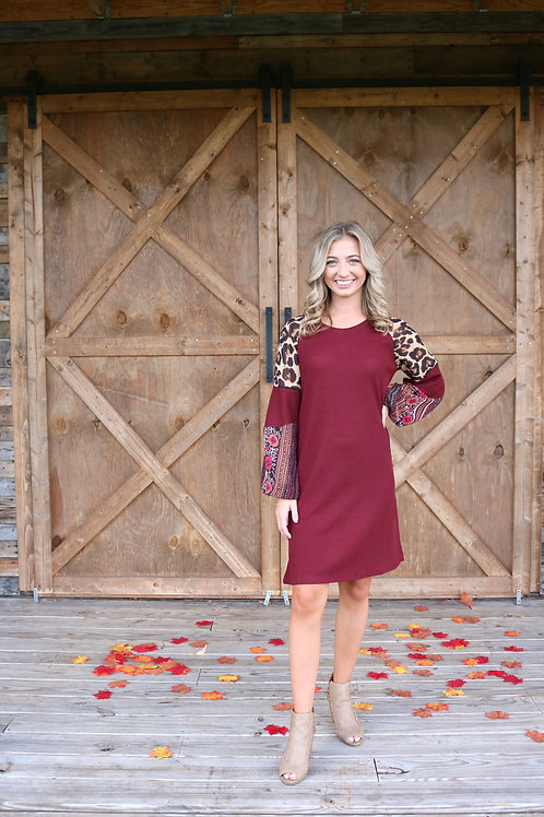 Maroon & Leopard Waffle Knit Dress