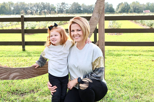 Camo and Sequins Sleeves Top - Mommy Top